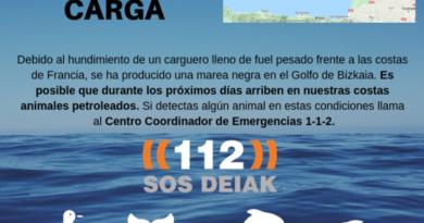 El Gobierno Vasco en alerta por la marea negra del carguero hundido en Francia,
