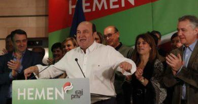 En Euskadi, el PNV logra 31 escaños, 3 más, EH Bildu suma 22, 4 más, el PSE logra 10 y Vox 1,