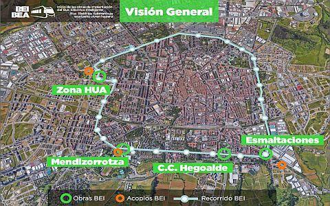 Las obras del Bus Eléctrico Inteligente (BEI) comienzan hoy en cuatro puntos de Vitoria-Gasteiz,