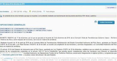 Publican los decretos de transferencia de la AP-68 a las diputaciones forales de Araba y Bizkaia,
