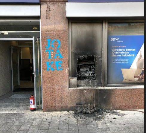 Rechazo del Gobierno municipal ante la quema del cajero acaecido la pasada noche en Arrasate,