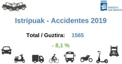 Los accidentes de tráfico descienden en Donostia un 8,1% en 2019